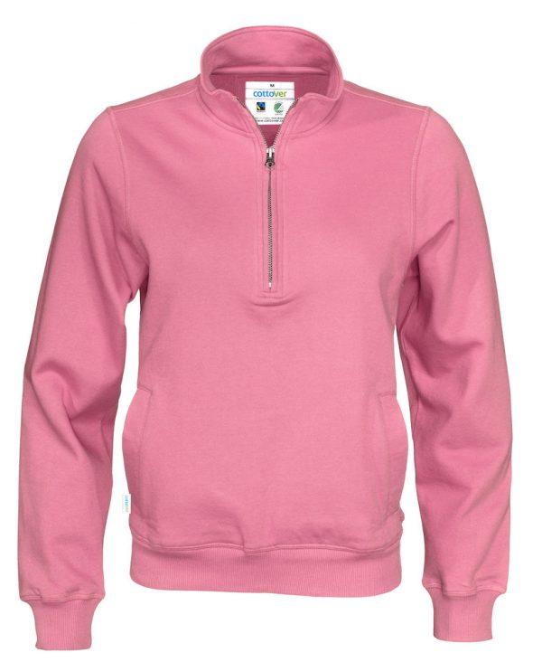Hoodie met halve rits - roze