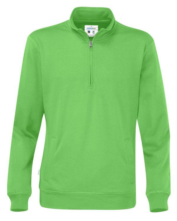 Hoodie met halve rits - groen