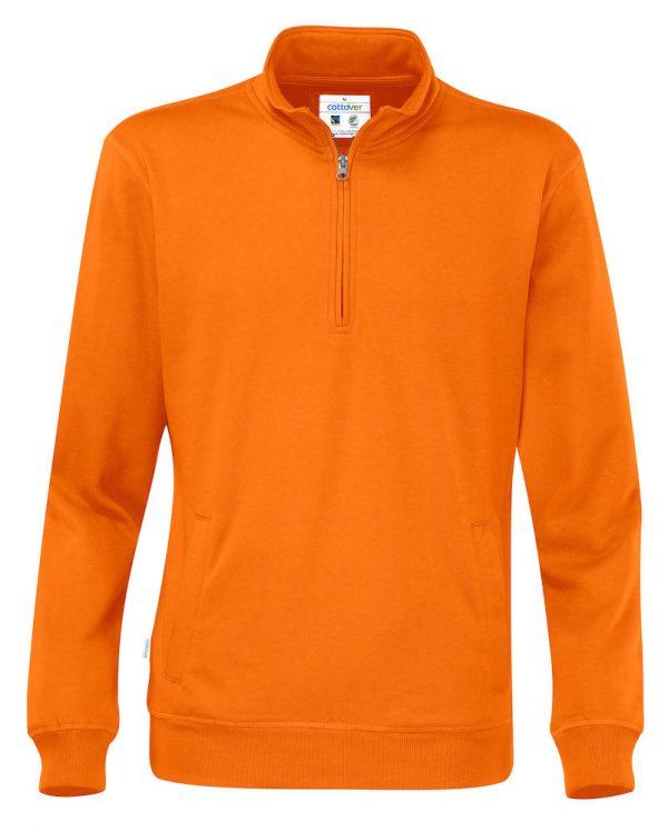 Hoodie met halve rits - oranje