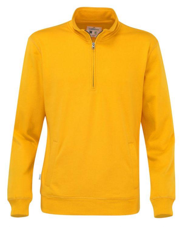 Hoodie met halve rits - geel