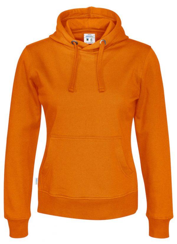 Hoodie zonder rits - oranje - dames