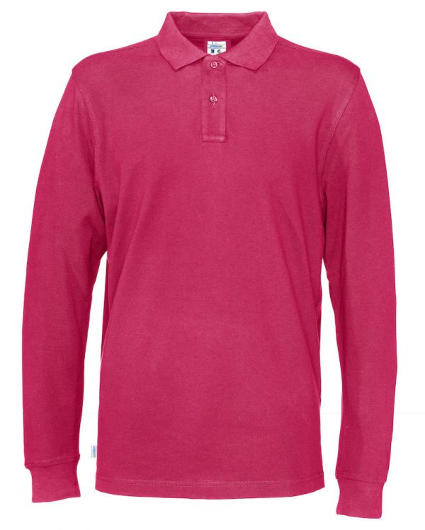 Polo met lange mouwen - donker roze - heren
