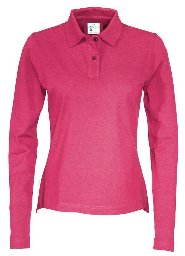 Polo met lange mouwen - donker roze - dames