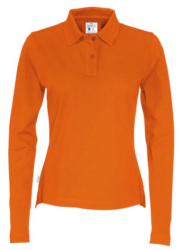 Polo met lange mouwen - oranje - dames