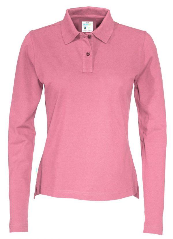 Polo met lange mouwen - roze - dames