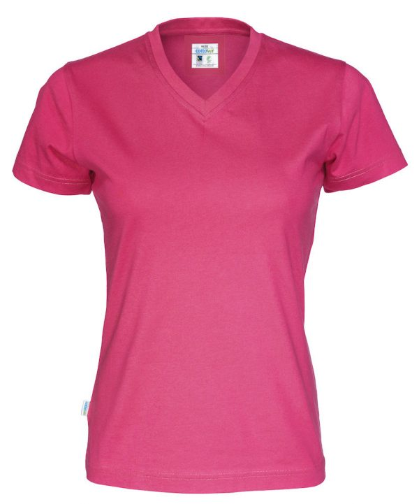 T-shirt met V hals - donker roze - dames