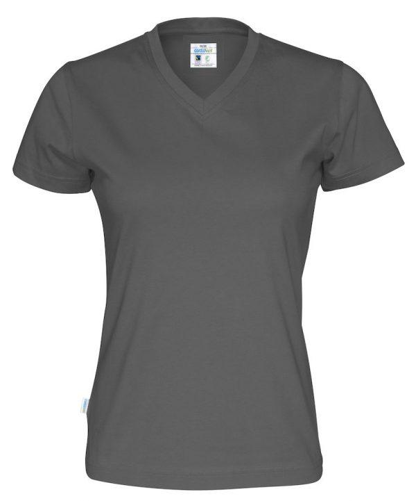 T-shirt met V hals - grijs - dames