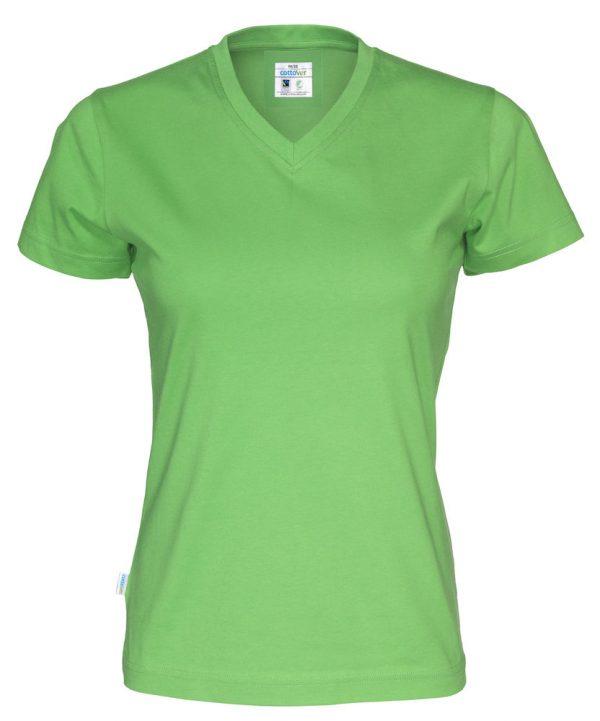 T-shirt met V hals - groen - dames