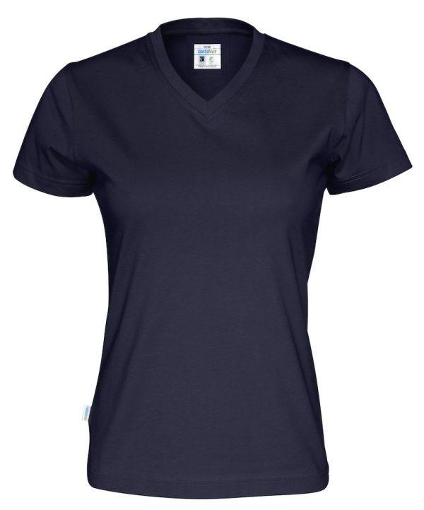 T-shirt met V hals - navy - dames