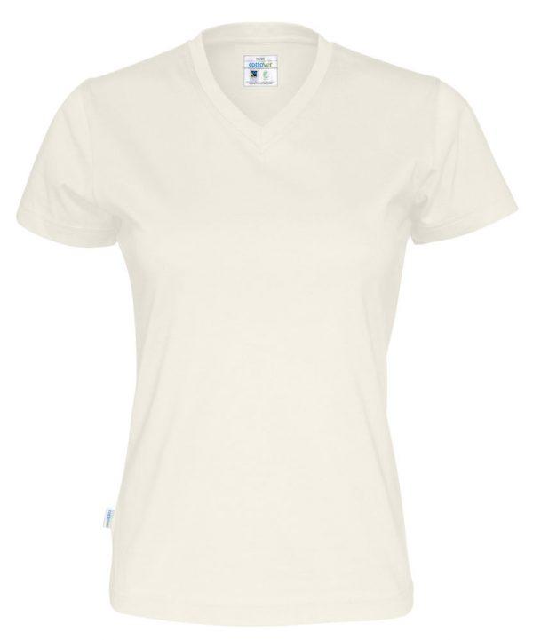 T-shirt met V hals - gebroken wit - dames