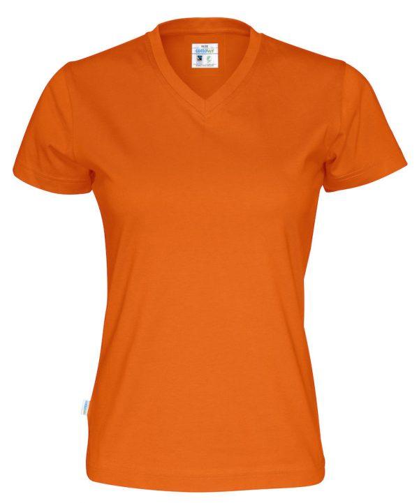 T-shirt met V hals - oranje - dames