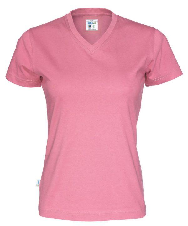 T-shirt met V hals - roze - dames