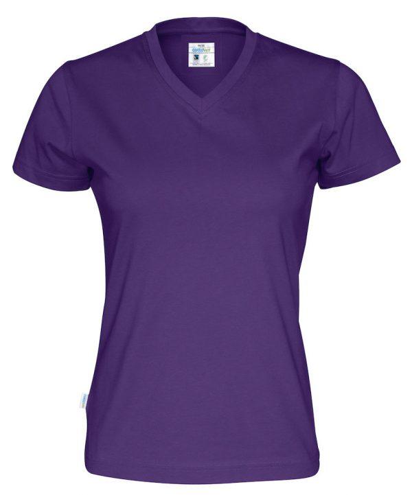 T-shirt met V hals - paars - dames