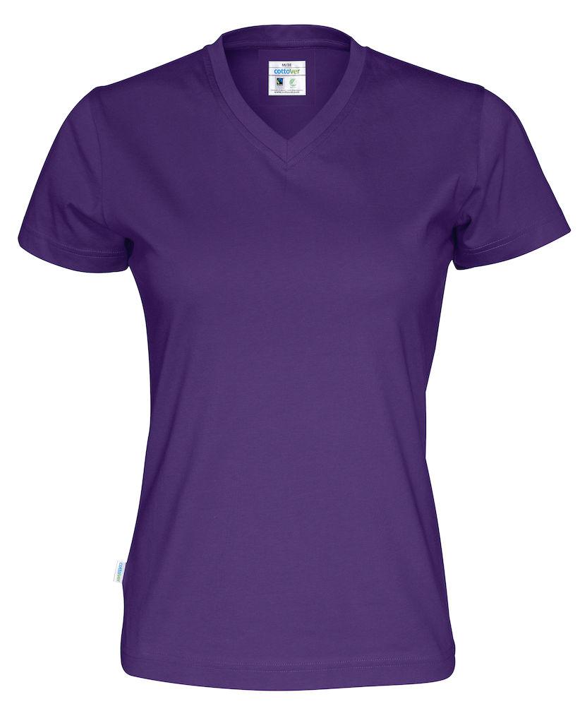 01e82fdede7 CottoVer® T-shirt – V hals – paars – dames | GROENEzaken