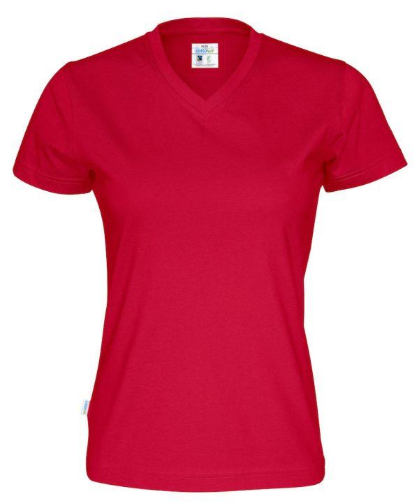 T-shirt met V hals - rood - dames