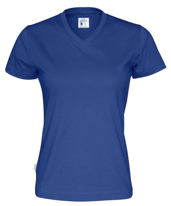 T-shirt met V hals - koningsblauw - dames