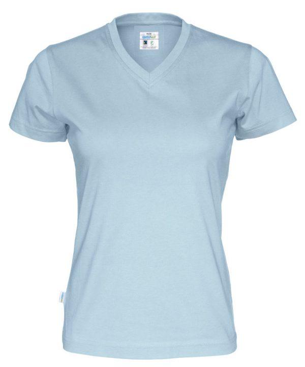 T-shirt met V hals - licht blauw - dames