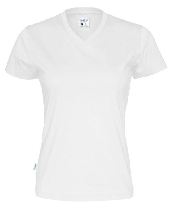 T-shirt met V hals - wit - dames