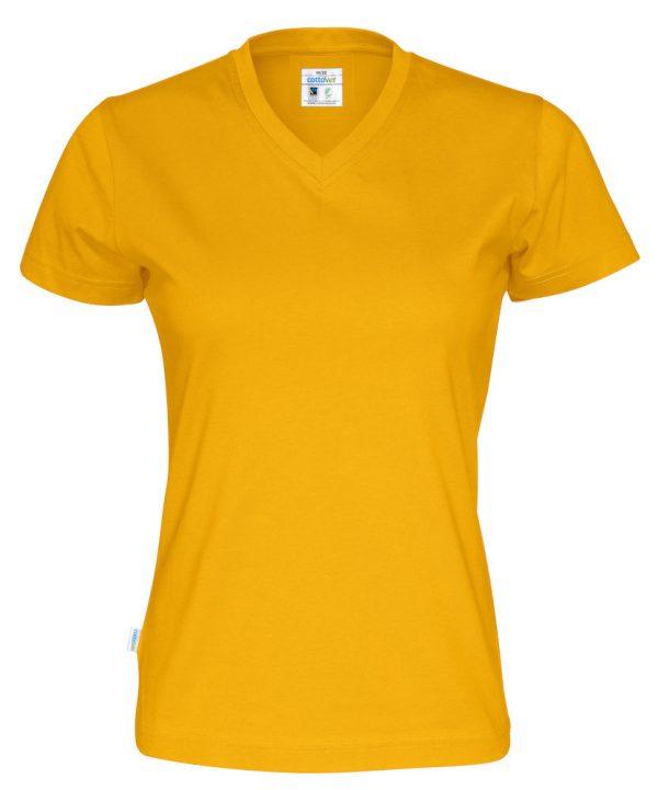 T-shirt met V hals - geel - dames