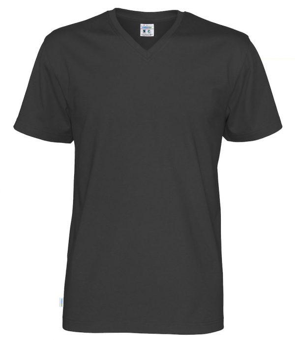 T-shirt met V hals - zwart - heren
