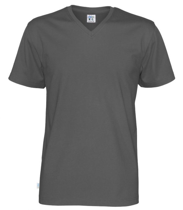 T-shirt met V hals - grijs- heren