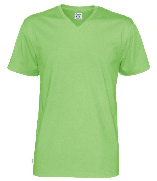 T-shirt met V hals - groen - heren