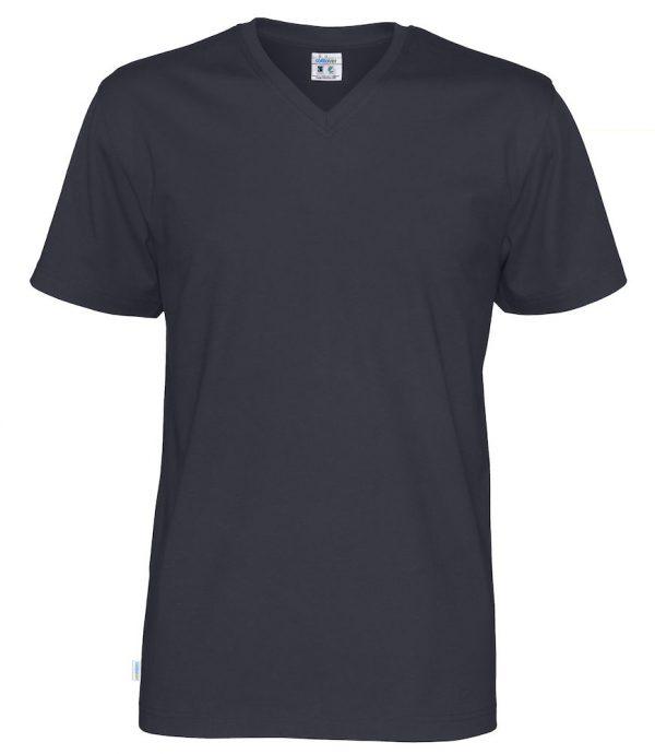 T-shirt met V hals - navy -heren