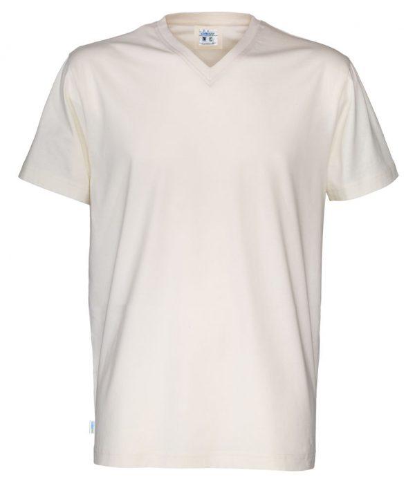 T-shirt met V hals - gebroken wit - heren