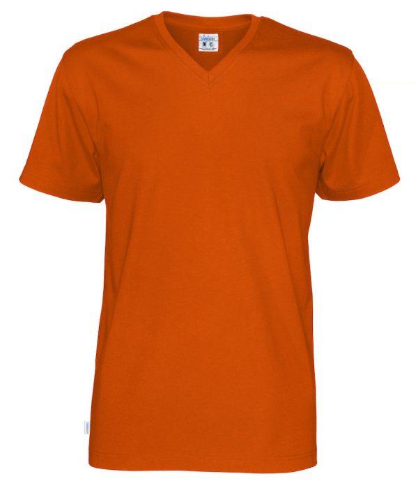 T-shirt met V hals - oranje - heren