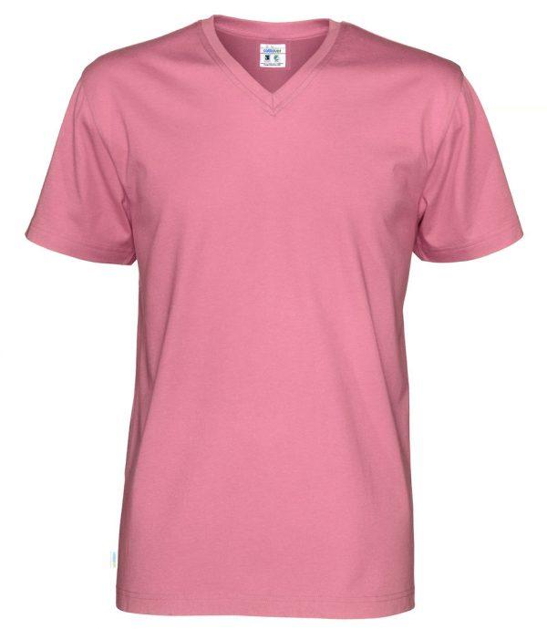 T-shirt met V hals - roze - heren