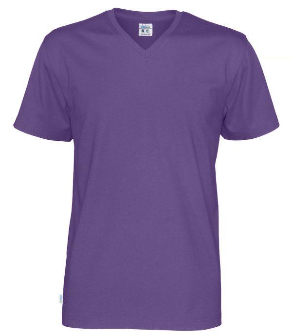 T-shirt met V hals - paars - heren