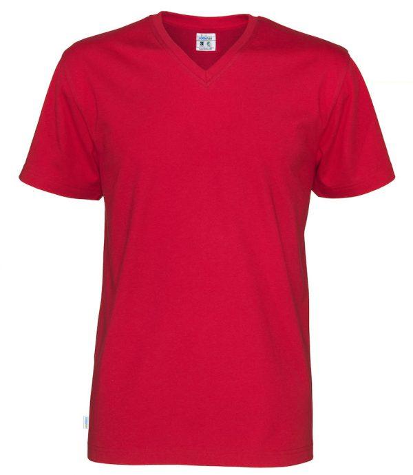 T-shirt met V hals - rood - heren