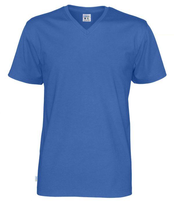 T-shirt met V hals - koningsblauw - heren