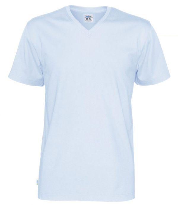 T-shirt met V hals - licht blauw - heren