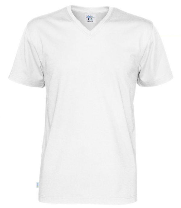 T-shirt met V hals - wit- heren