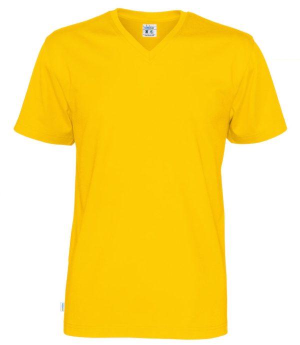 T-shirt met V hals - geel - heren